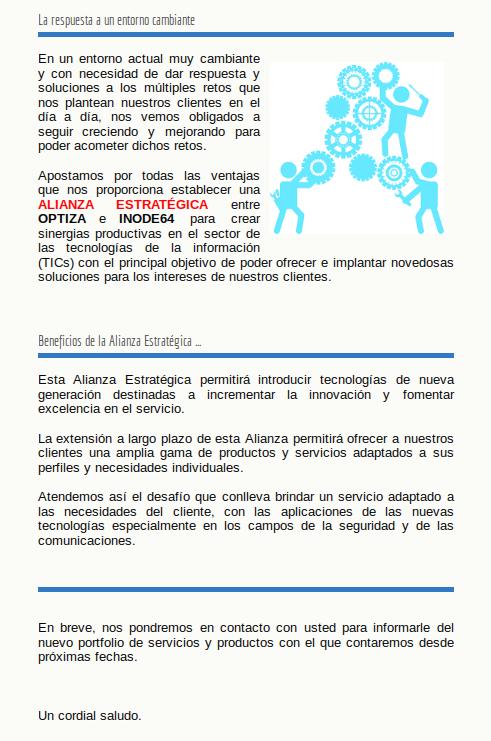 Alianza engre empresas INODE64 & Optiza